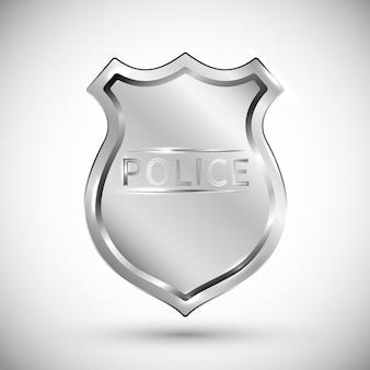 Crachá da polícia isolado no fundo branco