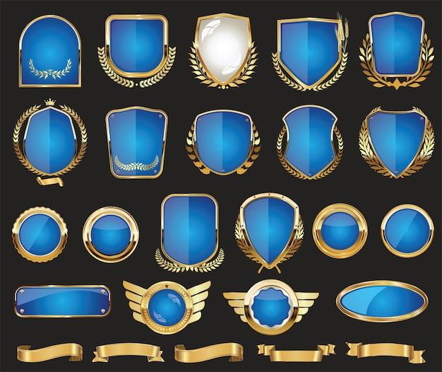 Crachá de coroa de louros com escudo dourado e coleção de design retro de rótulos