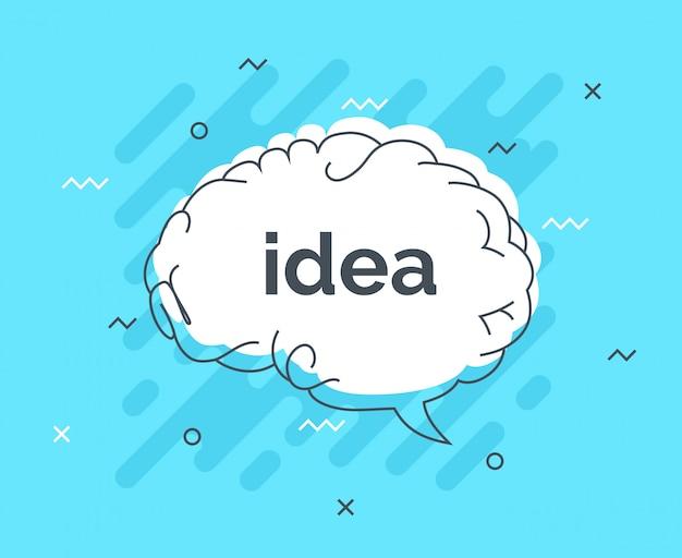 Crachá de dicas rápidas com cérebro de idéia de bolha de discurso