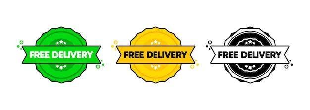Crachá de entrega gratuita. vetor. conjunto de ícone de carimbo entrega gratuita. logotipo do crachá certificado. modelo de carimbo. etiqueta, etiqueta, ícones.