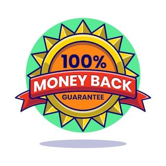 Crachá de garantia 100% dinheiro de volta