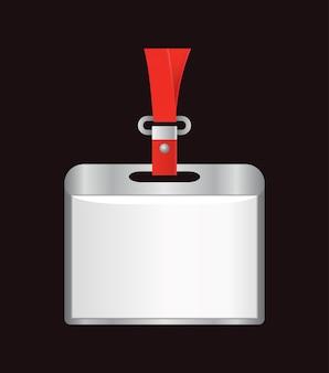 Crachá de identificação em branco. porta-nomes de plástico, crachá de identificação do passe. cartão, etiqueta de escritório pessoal ou crachá vazio no modelo realista de cordão. Vetor Premium