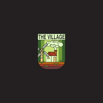 Crachá de logotipo com o conceito de vila