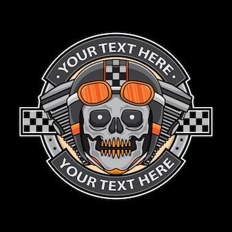 Crachá de logotipo de moto caveira