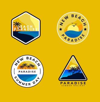 Crachá de logotipo de praia