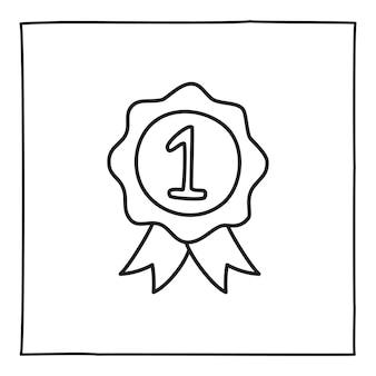 Crachá de medalha doodle com fita e ícone número 1 desenhado à mão com uma linha preta fina