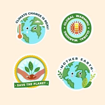 Crachá de mudança climática de design plano desenhado à mão