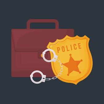 Crachá de polícia com maleta e algemas