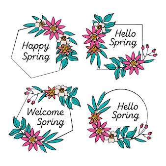Crachá de primavera desenhada mão com flores e moldura