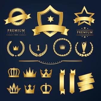 Crachá de qualidade premium e vetores de coleção de banner