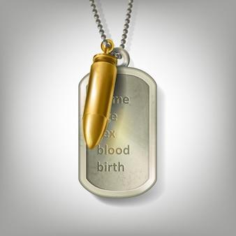 Crachá de soldado do exército de aço inoxidável prata com gravura