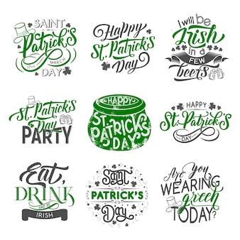 Crachá de st patrick com trevo de férias irlandês verde