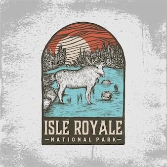 Crachá desenhado à mão do parque nacional da ilha royale