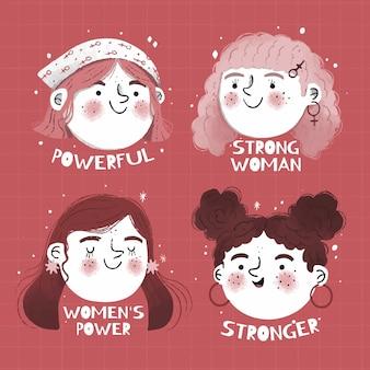 Crachá desenhado à mão para o dia internacional da mulher