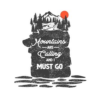Crachá desenhado de mão com paisagem de montanha e letras inspiradoras