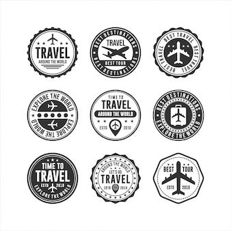 Crachá design de viagens selos coleções