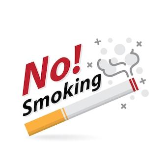 Crachá do ícone de risco de incêndio de cigarro na área de não fumantes e fumantes