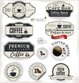 Crachá e rótulos de café