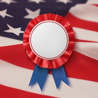 Crachá em branco. rótulo realista, patriótico, azul e vermelho com fita, bacground bandeira americana. modelo de cartaz, folheto ou cartão.