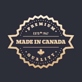 Crachá feito no canadá, etiqueta dourada
