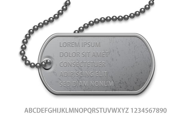 Crachá metálico de prata militar com corrente e modelo de texto editável.