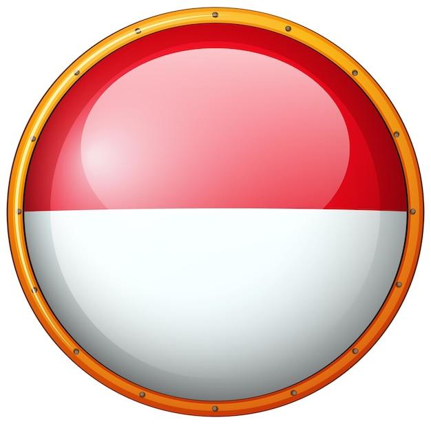 Crachá redondo com bandeira da indonésia
