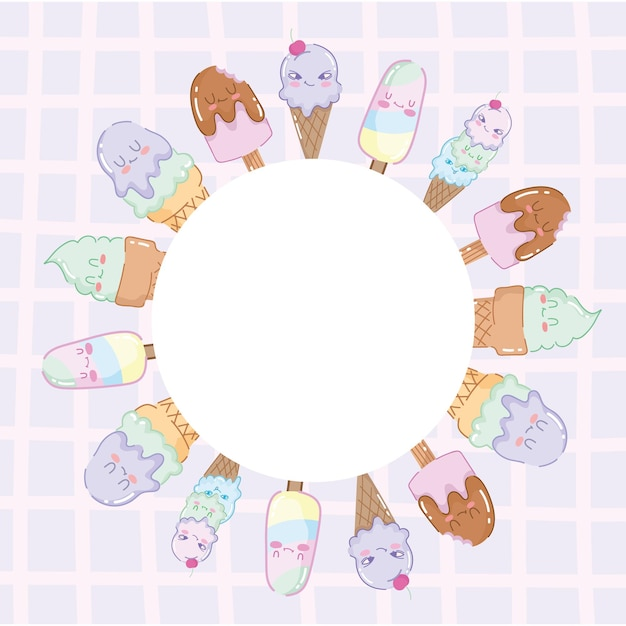 Crachá redondo de sorvetes fofos