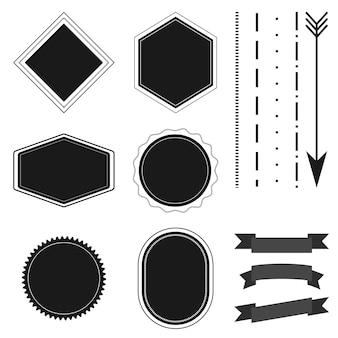 Crachá retro vintage, rótulo, fita e coleção de flechas