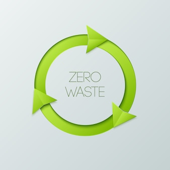 Crachá verde do desperdício zero em um fundo branco.