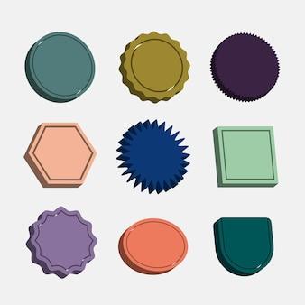 Crachás coloridos em branco definem vetor em estilo retro 3d