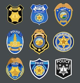 Crachás da polícia definem ilustrações vetoriais do rótulo do xerife marechal