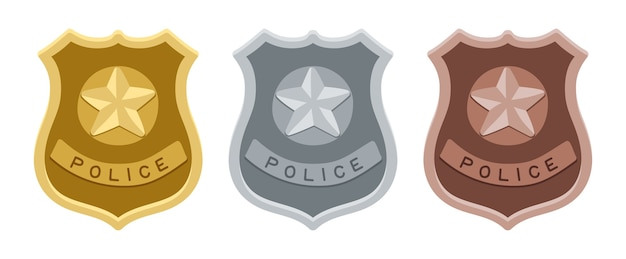 Crachás da polícia. escudos de ouro, prata e bronze.
