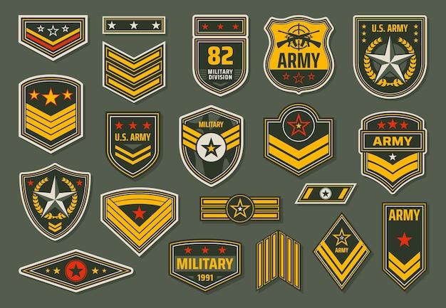 Crachás das forças armadas dos eua, o pessoal do serviço militar classifica a insígnia