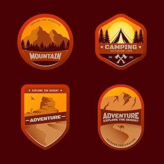 Crachás de acampamento e aventura