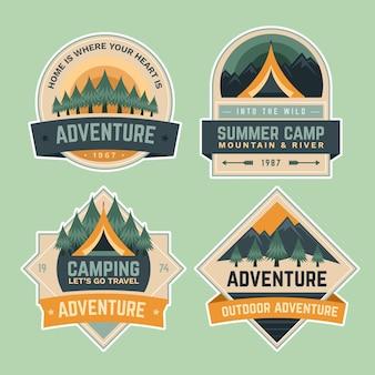Crachás de aventura da escola de acampamento de verão