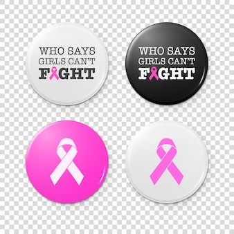 Crachás de botão realista com inscrição do tema de câncer e fita rosa - símbolo da conscientização do câncer de mama. conjunto de ícones. closeup isolado. modelo de design, ilustração conservada em estoque