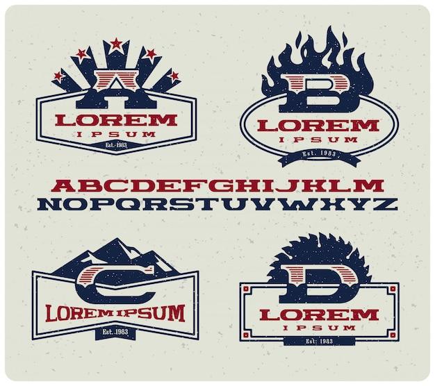 Crachás de logotipo com letras maiúsculas