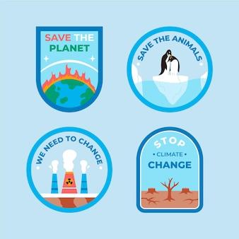 Crachás de mudança climática desenhados à mão