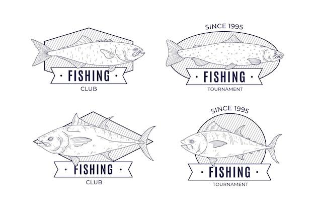 Crachás de pesca vintage detalhados