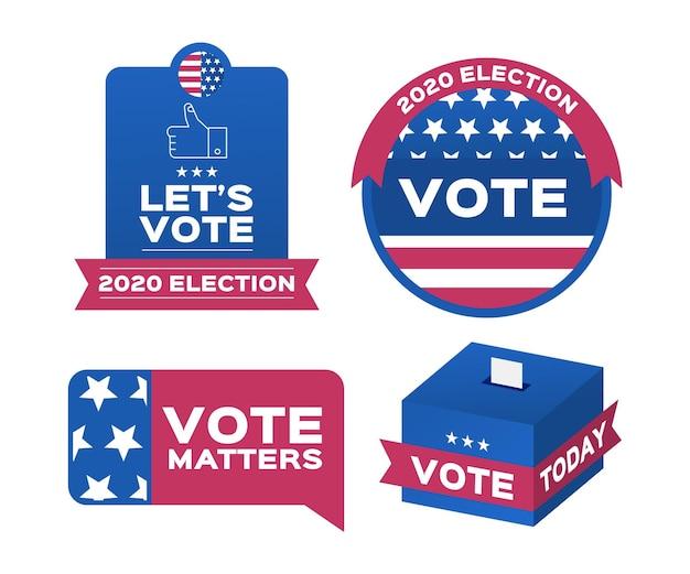 Crachás de votação e pacote de adesivos