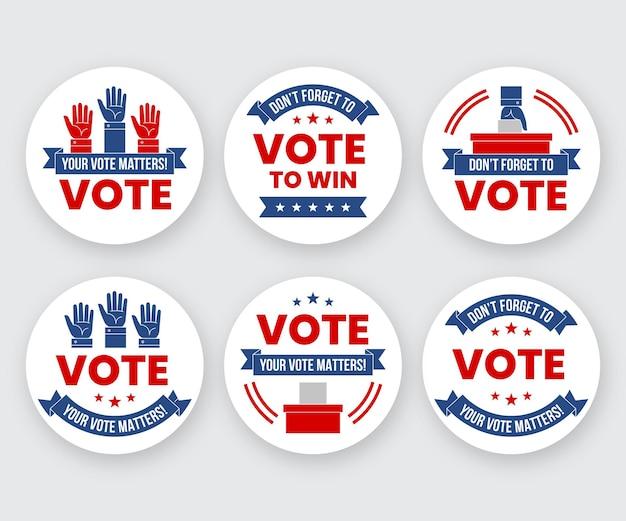 Crachás de votação para o próximo presidente