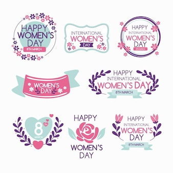 Crachás do dia internacional da mulher desenhada à mão