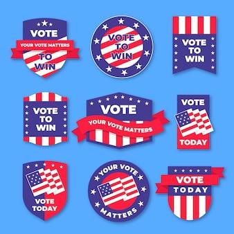 Crachás e adesivos de votação