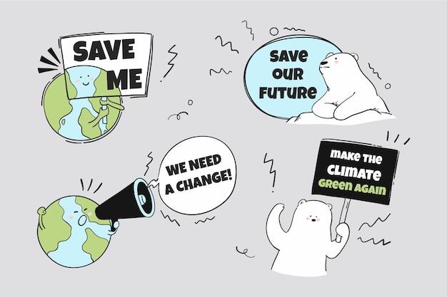 Crachás e etiquetas de mudança climática desenhados à mão