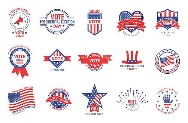 Crachás eleitorais. campanha política, votação do dia presidencial dos eua. adesivos de eleitor patriótico da bandeira americana