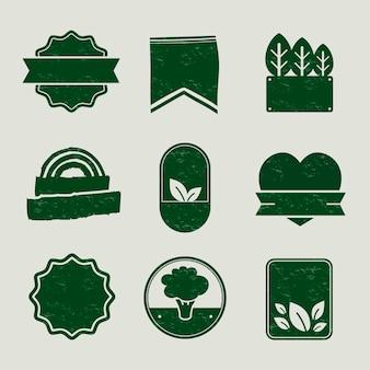 Crachás em branco de produtos naturais definem vetor em tom verde vintage