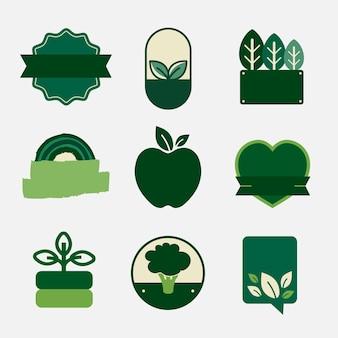 Crachás em branco de produtos naturais definem vetor em verde Vetor grátis