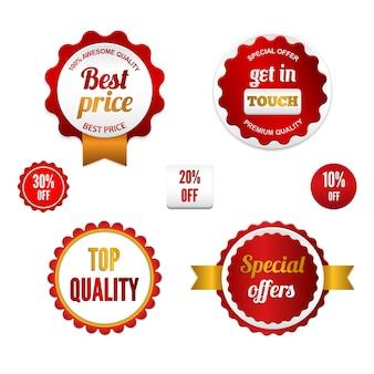 Crachás, etiquetas e adesivos com diversas inscrições no varejo. desenhado em cores vermelhas.
