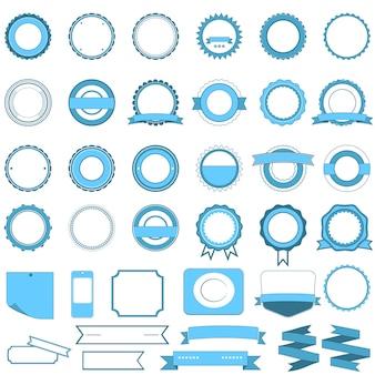 Crachás, etiquetas e adesivos sem texto no varejo. desenhado em azul claro
