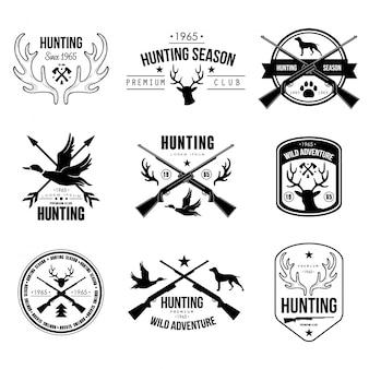 Crachás etiquetas logotipo design elementos caça